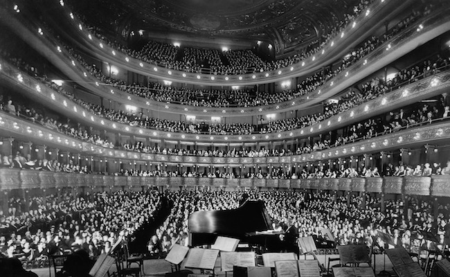 A full house, seen from the rear of the stage, at the Metropolitan Opera House for a concert by pianist Josef Hofmann, November 28, 1937