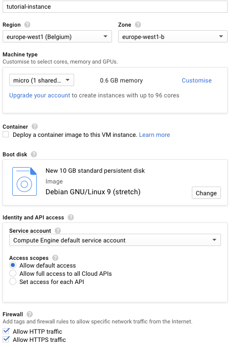 VM Instance settings in Google Compute Engine