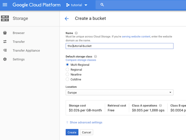 Creating a Storage Bucket in Google Cloud
