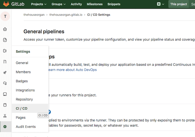 Gitlab CI / CD Settings